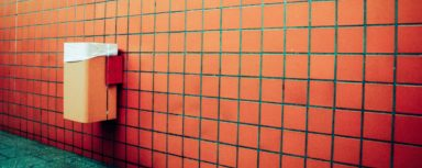Red Tiled Feature Wall in Public